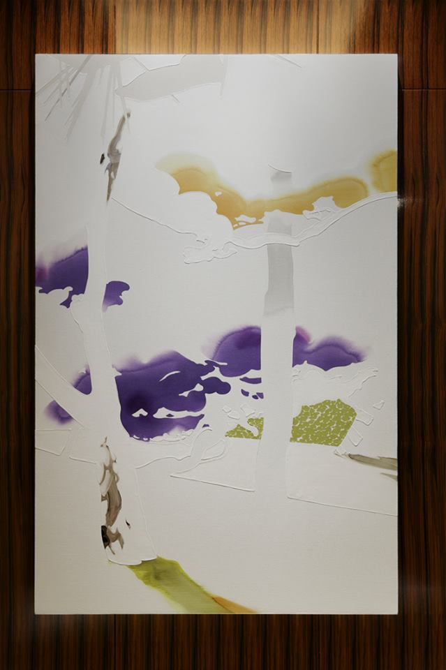 "While waiting for an elevator to go to your room from the lobby, enjoy this peaceful painting ""Makuai"" by Masumi Nakaoka. Representing the 'Scenery in the vicinity of Palace Hotel Tokyo', the spatial nature of white is illustrated with varied material textures, hues and forms that echo the physical properties of the materials."