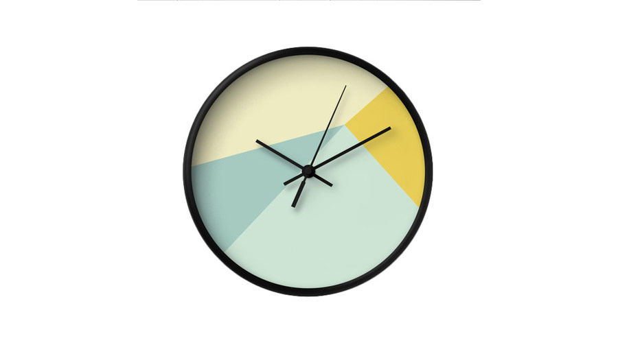 Mint and yellow wall clock from Etsy