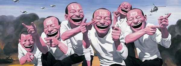 Yue Minjun, Fighting (2009-2010), Lithography, 120 x 80 cm Source: yanggallery.com.sg