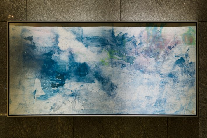 """""""Manmen"""" by Takehiko Sugawara decorates the Reception Lobby of the hotel. Sugawara wishes """"that Palace Hotel Tokyo will be filled with people from around the world, like a spring that brims full with spring water."""""""
